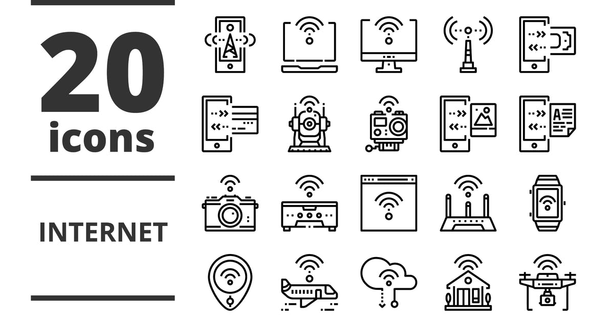 Download Internet Line icons packs by linector