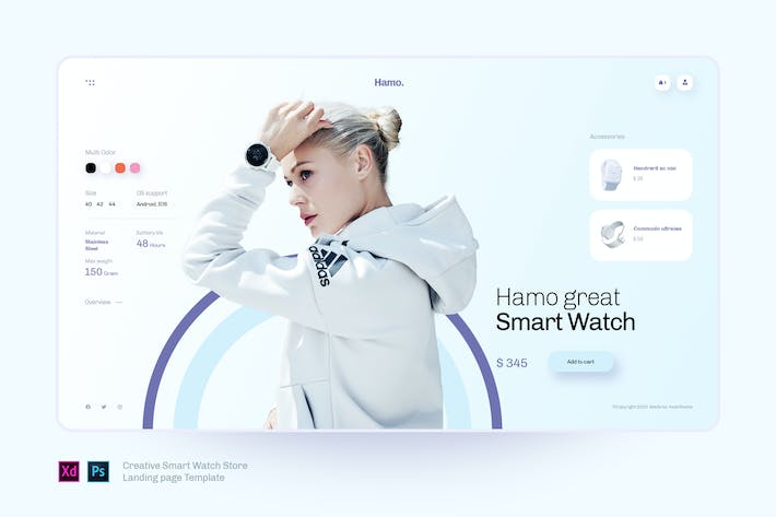 Thumbnail for Hamo - Smart watch Store landing page template