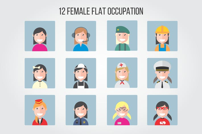 Thumbnail for 12 Female Flat Occupation Vector Illustrations