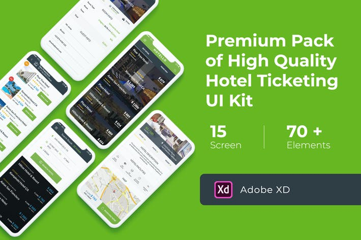 Thumbnail for Hotel Booking UI KIT for XD