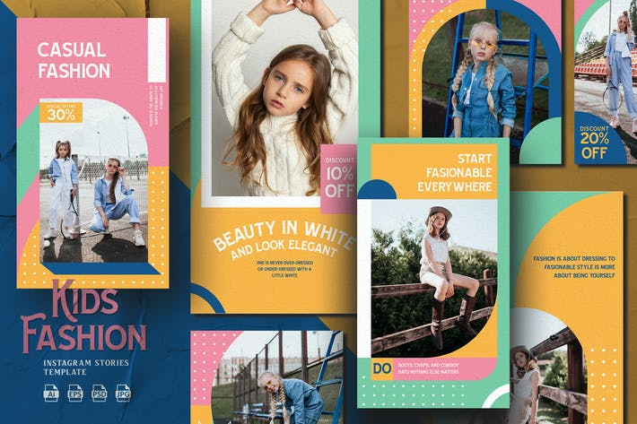 Thumbnail for Fun Colorful Theme -Kids Fashion Instagram Stories