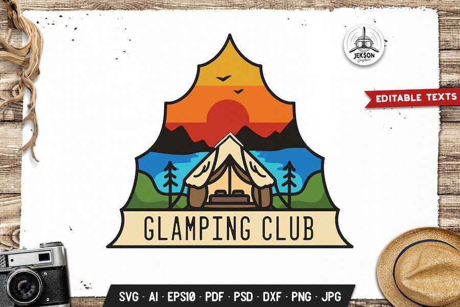 Glamping Club Emblem Modern Logo SVG. Retro Design