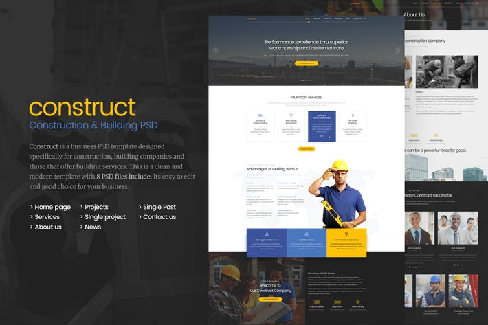 Thumbnail for Construct - Construction Building PSD Template