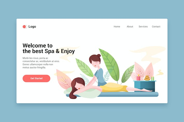 Thumbnail for Beauty spa flat web template for Landing page