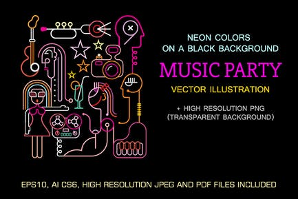 Music Party Neon sign vector illustration