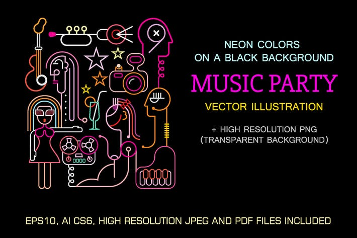 Thumbnail for Music Party Neon sign vector illustration