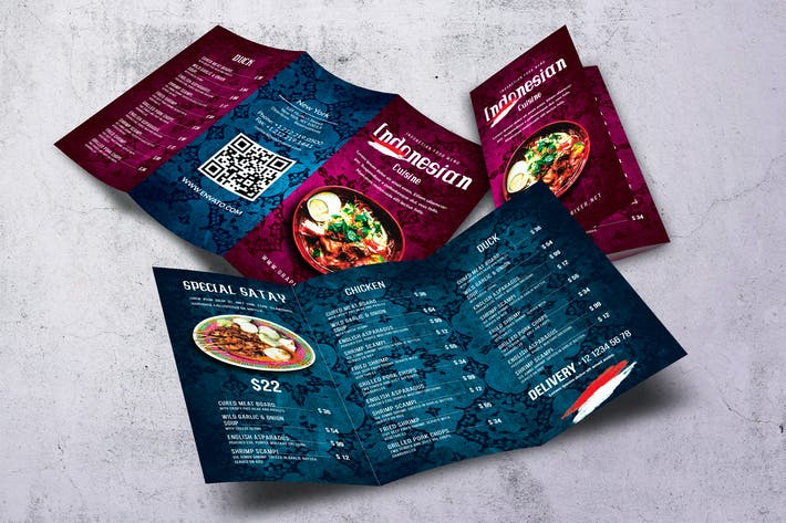 Indonesian Cuisine Trifold Menu