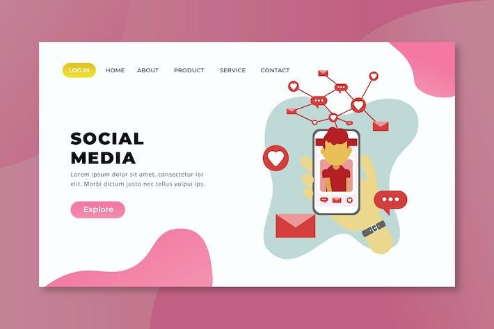 Thumbnail for Soziale Medien - XD PSD AI Vektor Zielseite
