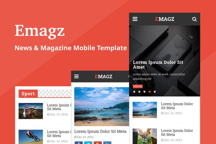 Thumbnail for Emagz - News & Magazine Mobile Template