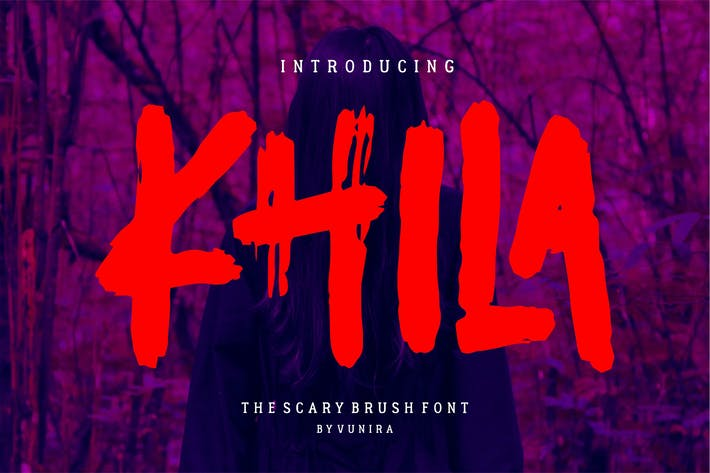 Thumbnail for Khila | The Scary Brush Font