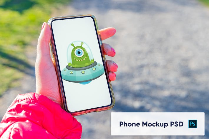 Thumbnail for Phone in woman's hand - Mockup PSD