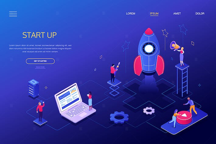 Thumbnail for Startup - modern colorful isometric web banner