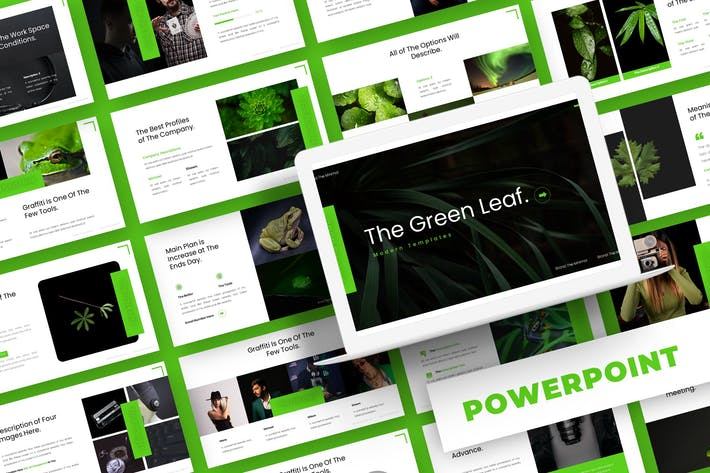 Thumbnail for Зеленый лист - Шаблон Powerpoint