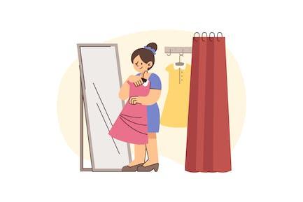 SVG Woman Shopping Fashion Illustration
