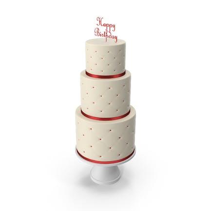 Cascade Kuchen mit Dekor aus rotem Band und Topper Happy Birthday