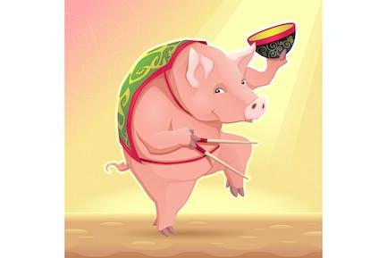 Schwein mit Suppenschüssel