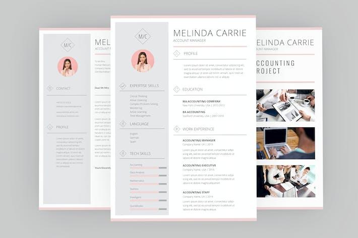 Thumbnail for Melinda Account Resume Designer