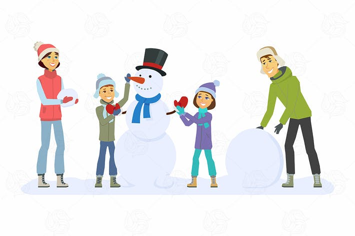 Thumbnail for Family builds a snowman - vector illustration