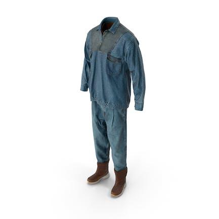 Herren Jeans Pullover Stiefel T-shirt Braun Blau