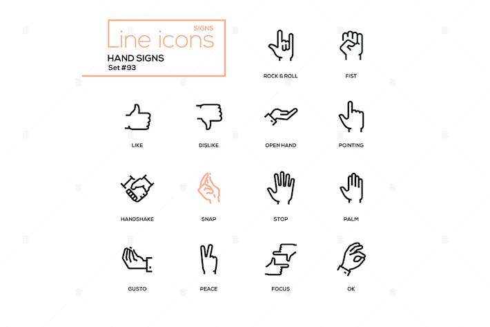 Thumbnail for Hand signs - modern line design icons set