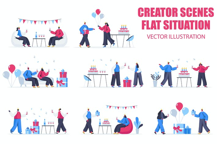 Thumbnail for Birthday Party Flat People Scene Situation