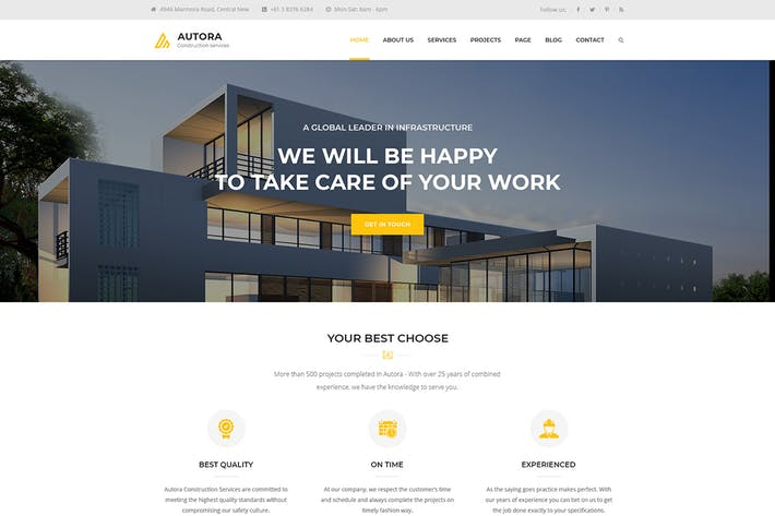 Thumbnail for Autora - React JS Construction Business Template