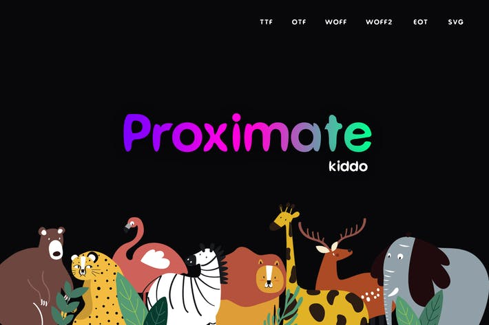 Thumbnail for Proximate Kiddo - Display Typeface + WebFonts