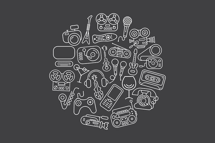 Thumbnail for Entertainment and Home electronics vector icons
