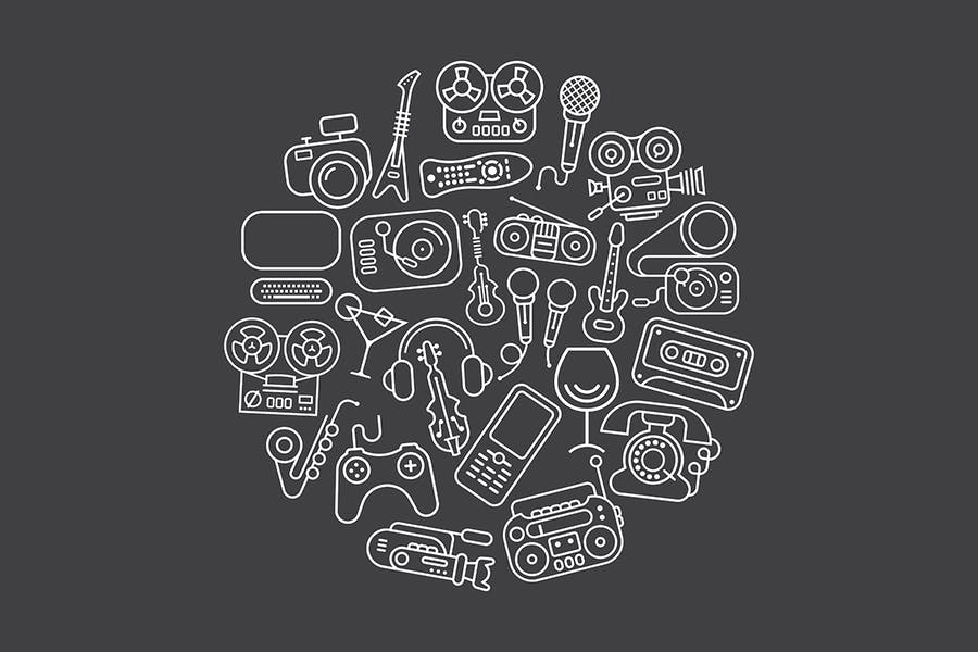 Entertainment and Home electronics vector icons