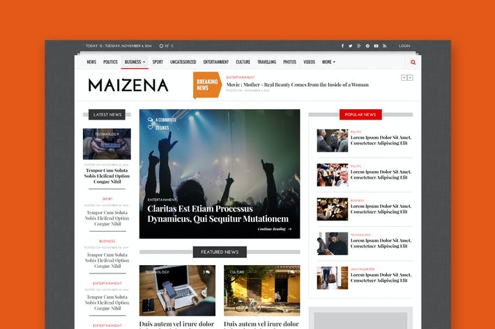 Thumbnail for Maizena - Creative Magazine & News PSD