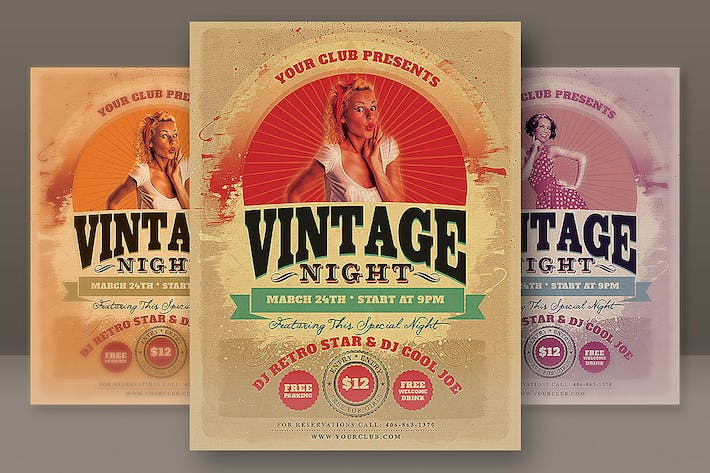 Thumbnail for Vintage Night Party Flyer