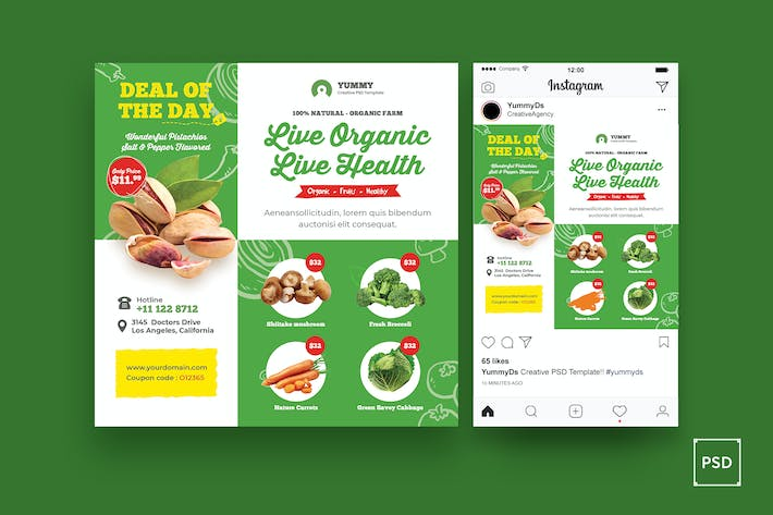 Cover Image For Organic Market, Fresh Food Square Flyer
