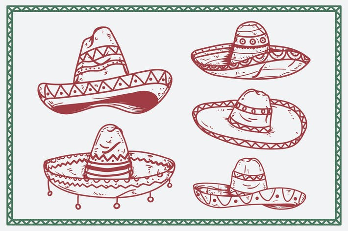 Mexican Hat Sombrero Hand Drawing