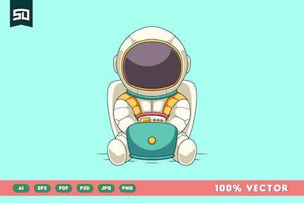 Cute Astronaut Design Illustration