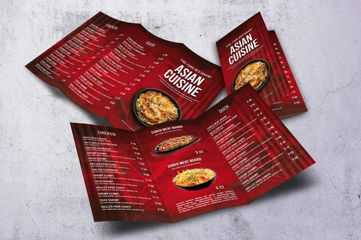 Cover Image For Asian Trifold A4 & US Letter Food Menu V2