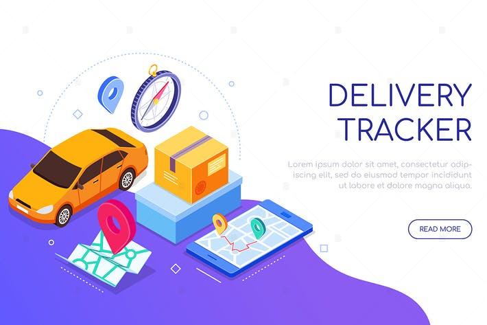 Thumbnail for Delivery tracker service - isometric banner