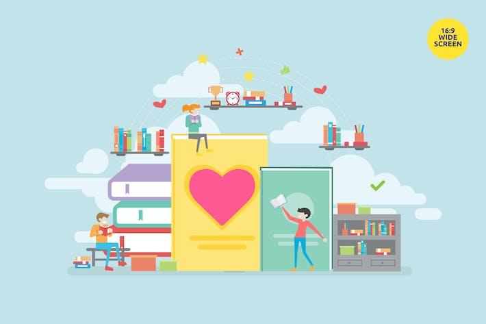 Book Lover Vector Concept Illustration