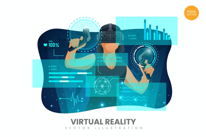 Thumbnail for Virtual Reality Female Vector Illustration Concept