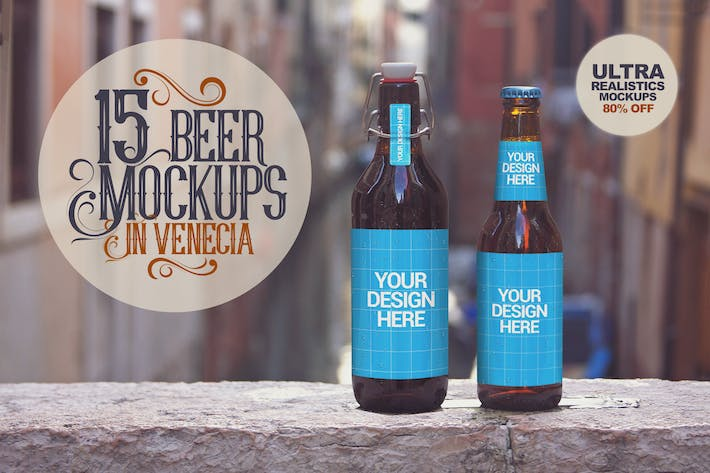 Thumbnail for 15 Beer Mockups in Venetian
