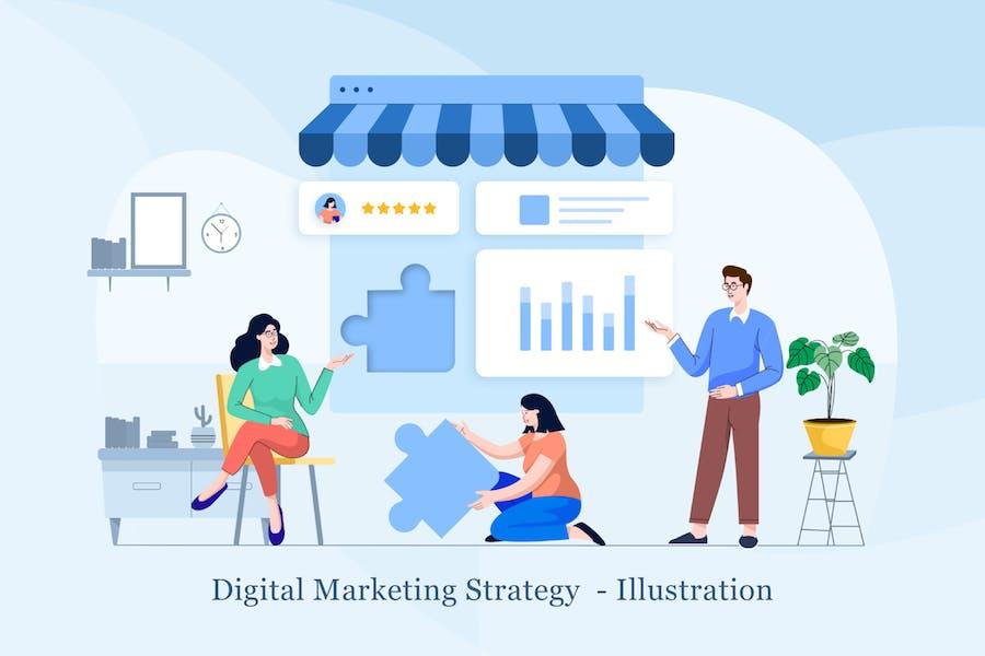 Ilustración de estrategia de marketing digital