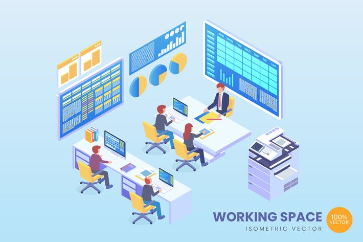 Thumbnail for Isometric Working Space Vector Concept