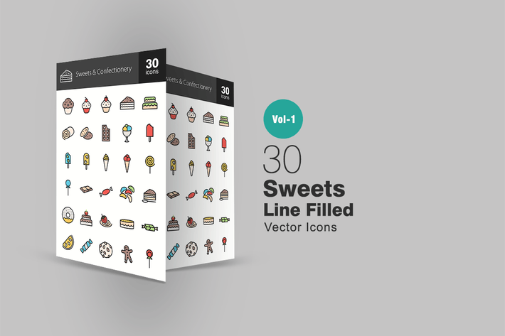 Thumbnail for 30 Sweets & Confectionery Line Filled Icons