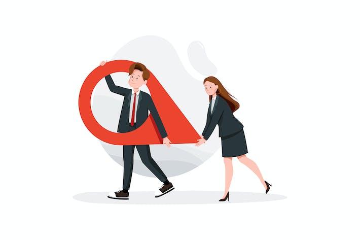 Geschäftsmann und Frau tragen eine große Karte Zeiger