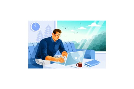Freelancer Working in Cafe