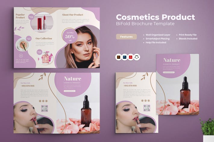 Cosmetics Product Bifold Brochure