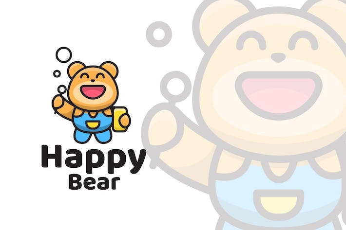 Thumbnail for Happy Bear Cute Logo Template