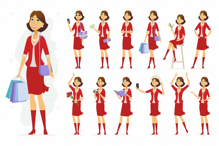 Thumbnail for Fashionable woman - vector character set
