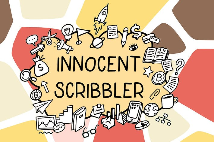 Thumbnail for Innocent scribbler| font with doodle icons