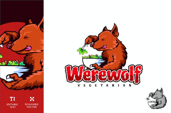 Thumbnail for Werewolf Vegetarian Diet Logo Illustration Vecteur