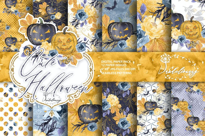 Thumbnail for Cute Halloween digital paper
